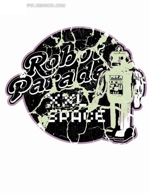 机器人 划痕 圆形 图形标识 手绘 插画 卡通 漫画 印花图案 卡通人物