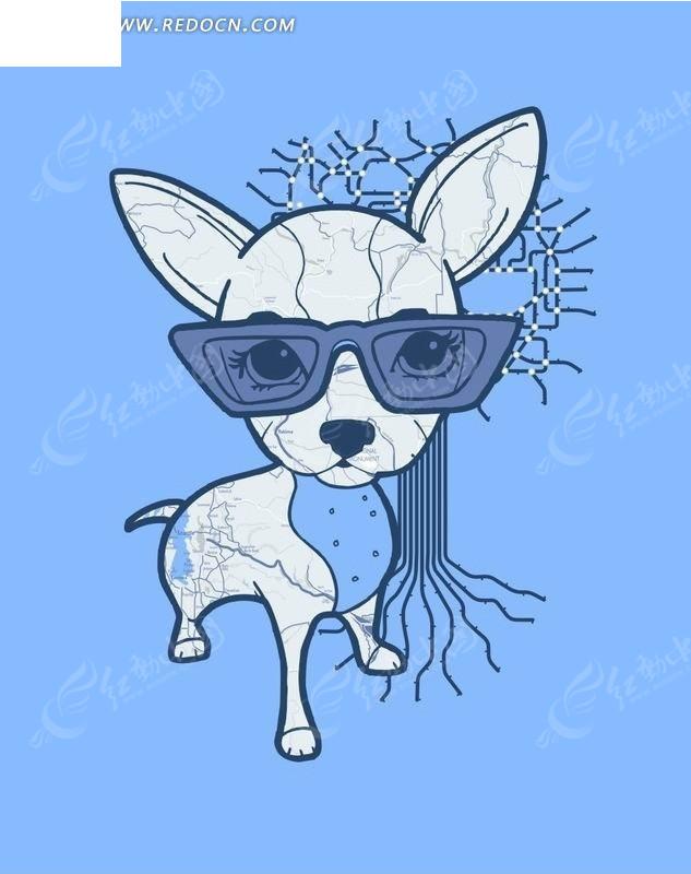 卡通动物插画-戴眼镜的小鹿