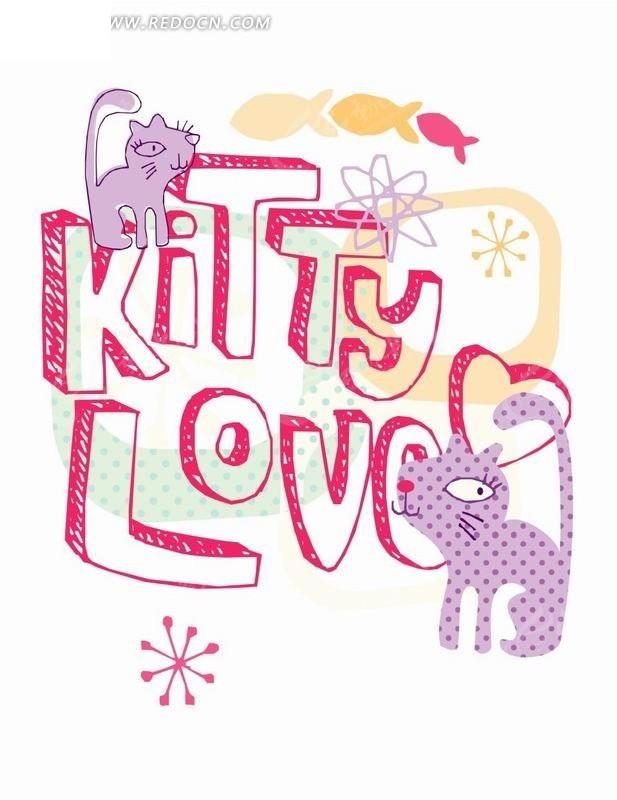 卡通动物插画-英文字母上的猫