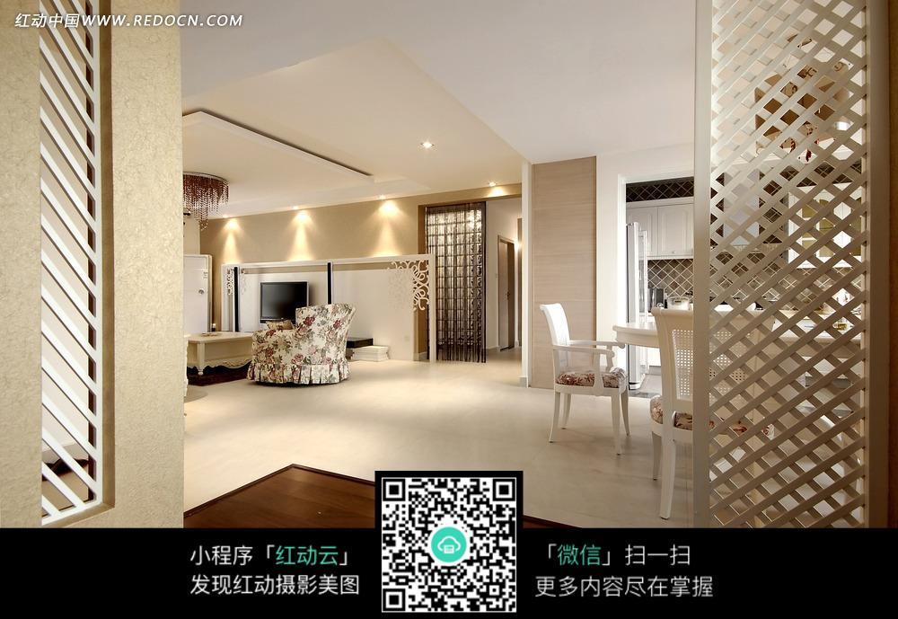 白色风格现代简约客厅和白色屏风