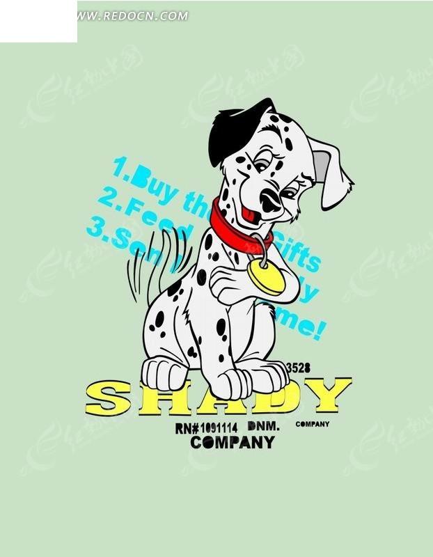 卡通动物插画-带铃铛的小花狗