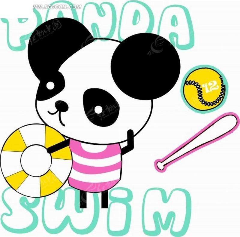 棒球棒和拿着游泳圈的熊猫卡通画cdr素材免费下载()