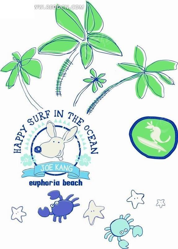 椰子树和海星以及螃蟹卡通画