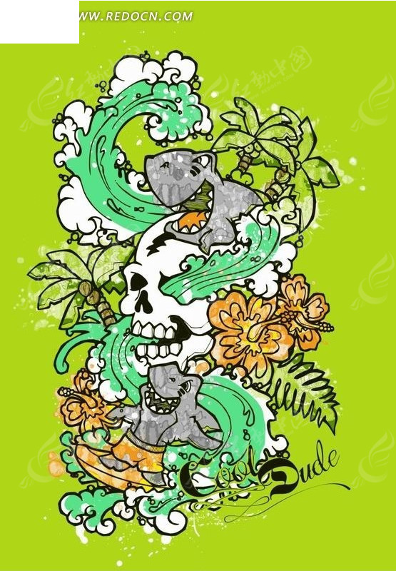 绿色背景上的植物海浪和鲨鱼卡通画