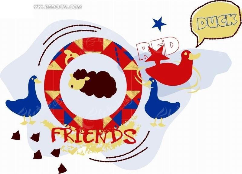彩色圆环和鸭子卡通画