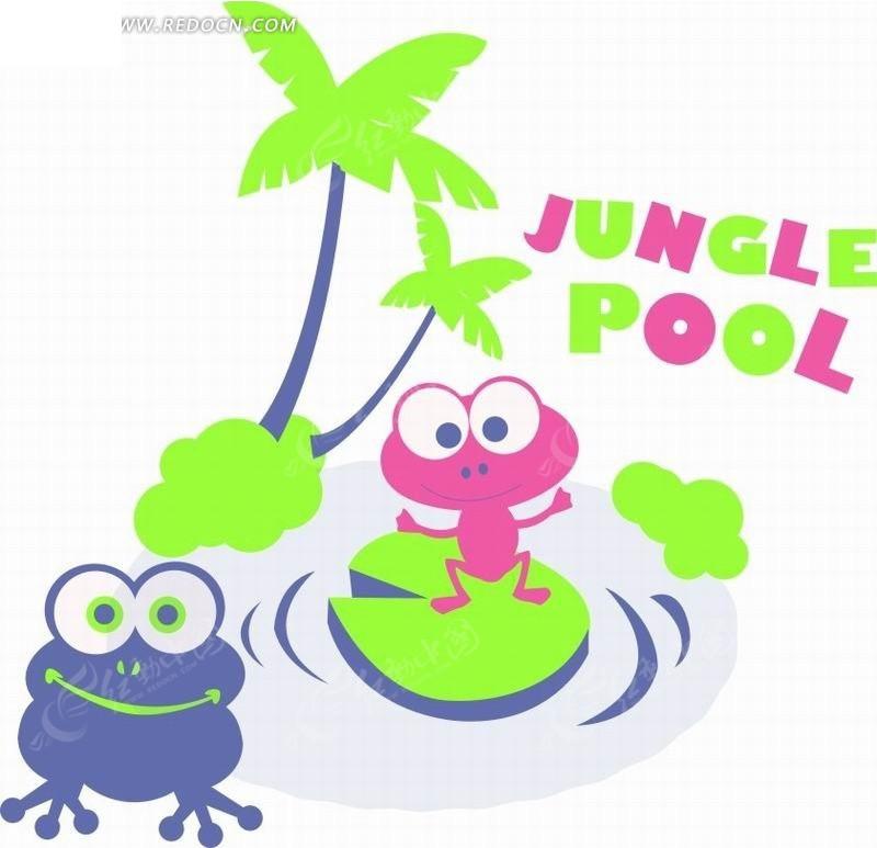 椰子树前的青蛙卡通画