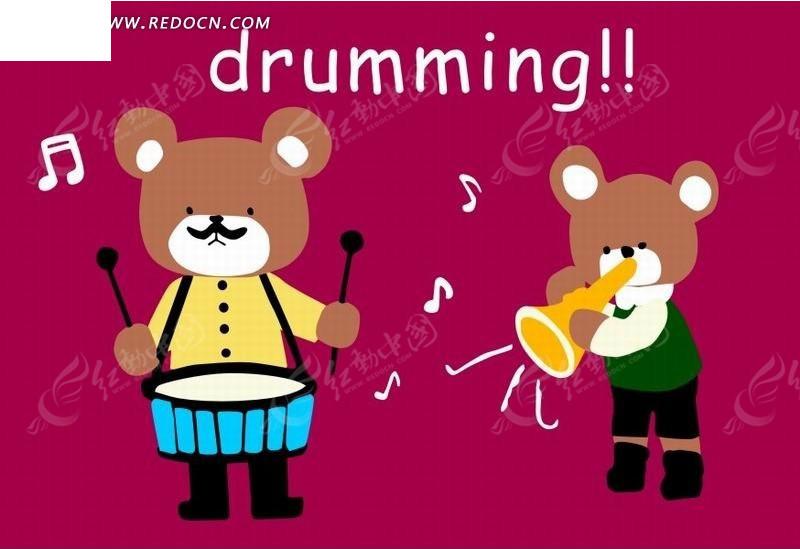 粉色背景上奏乐和打鼓的动物插画