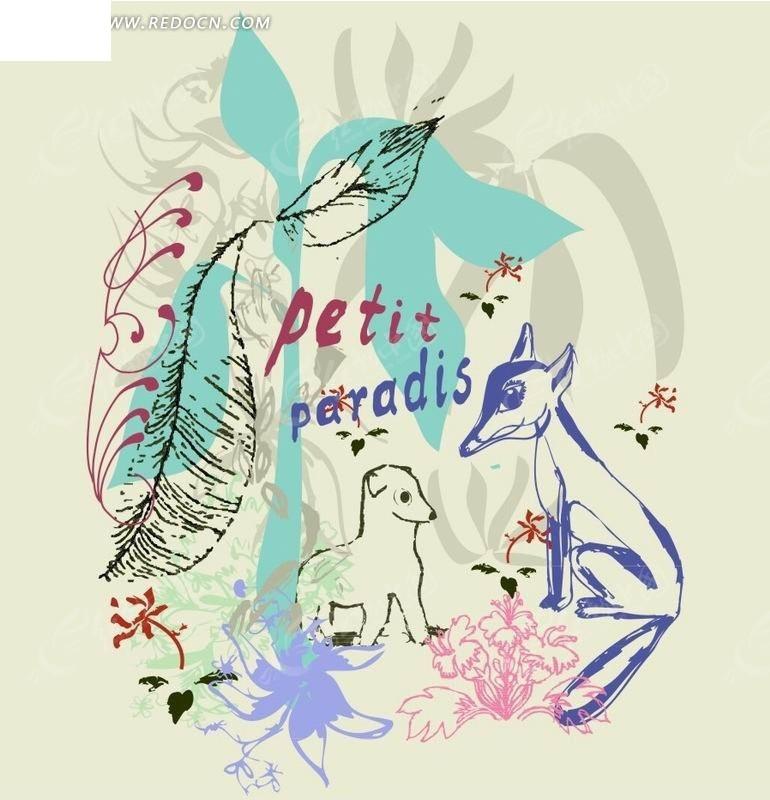 灰色背景上的植物和动物插画