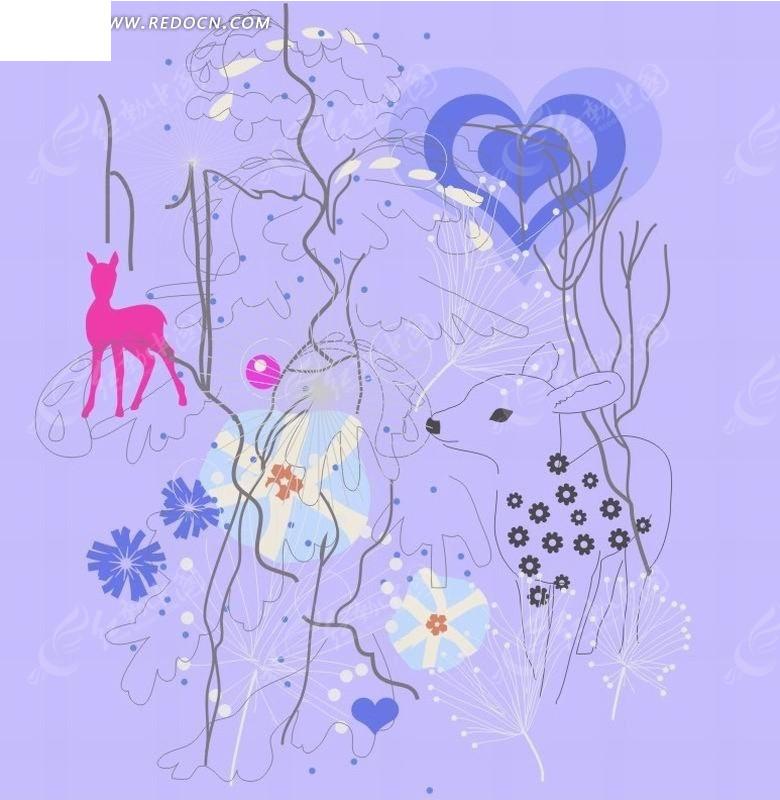 背景上的心形和花朵以及梅花鹿卡通画矢量图CDR免费下载 卡通形象