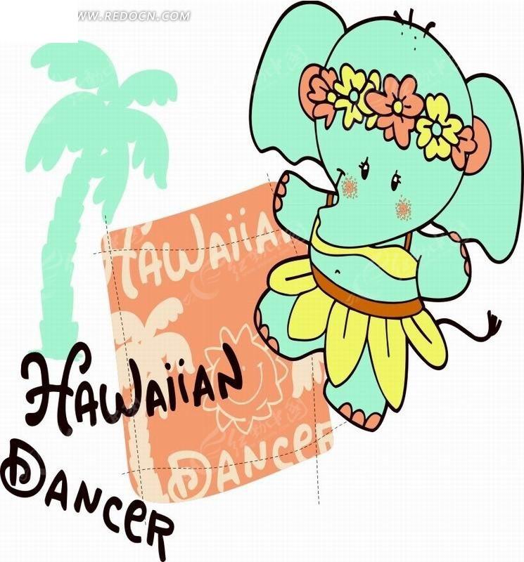 青色大象和椰子树卡通画
