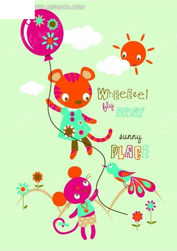 气球的动物卡通画