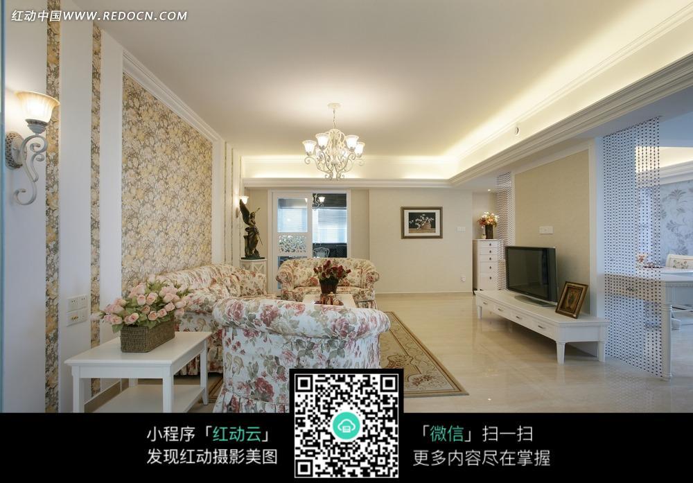 客厅墙壁精美壁纸和豪华印花沙发图片