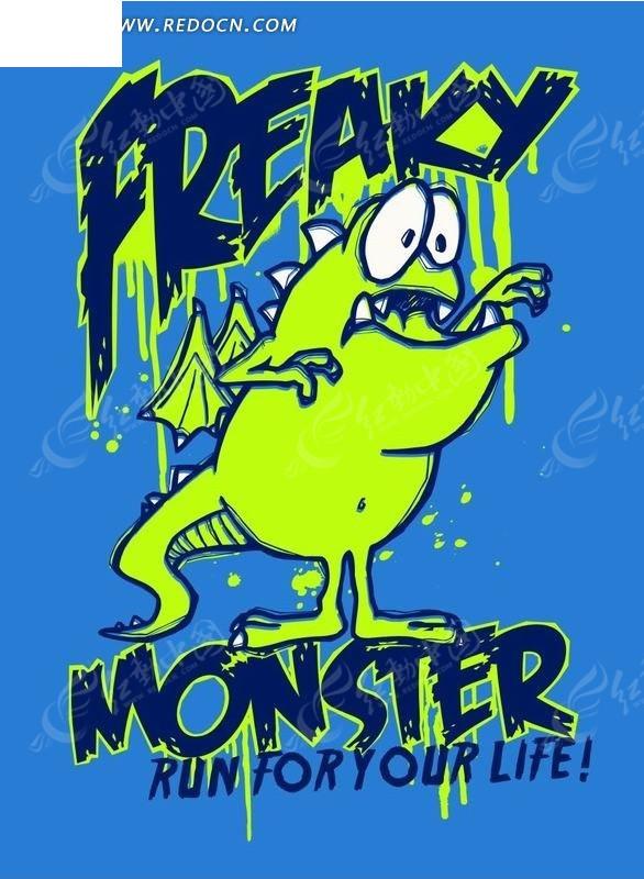 蓝色背景上的英文和恐龙卡通画