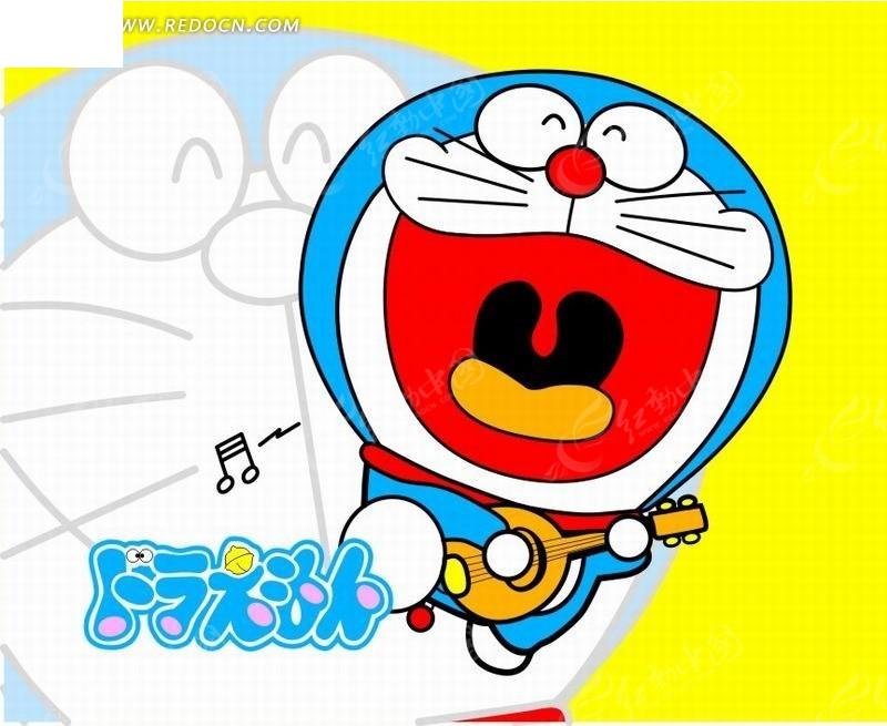 开心的机器猫卡通画