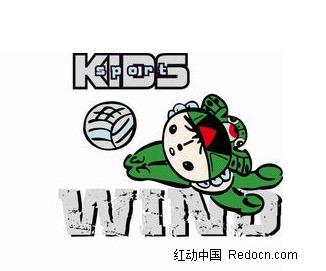 英文和打排球的福娃卡通画矢量图 卡通形象