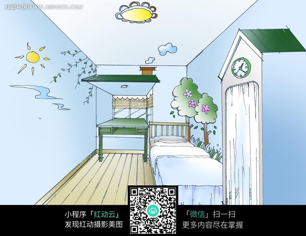 卧室手绘效果图图片 儿童卧室手绘效果图