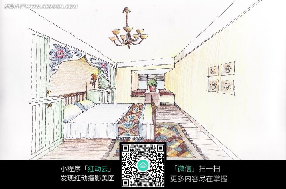手绘图卧室内精美花纹地毯和白色的