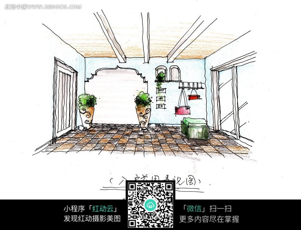 手绘效果图=大厅内的绿色植物