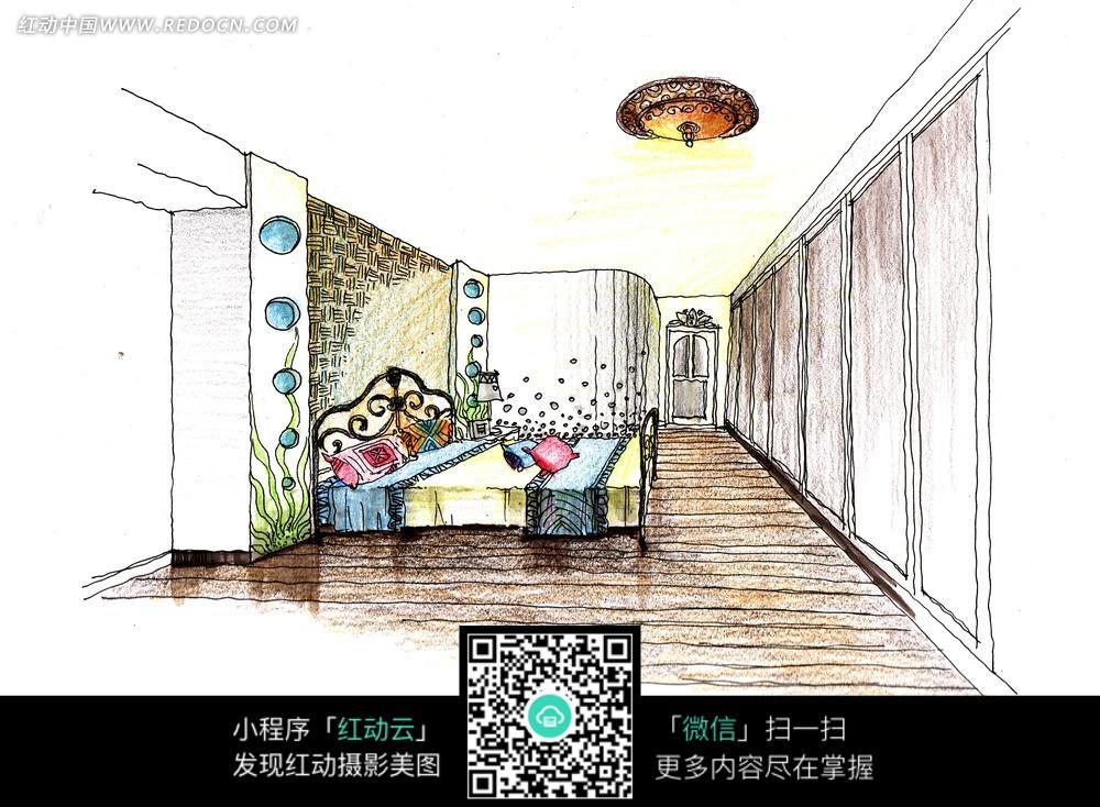 卧室装饰手绘效果图