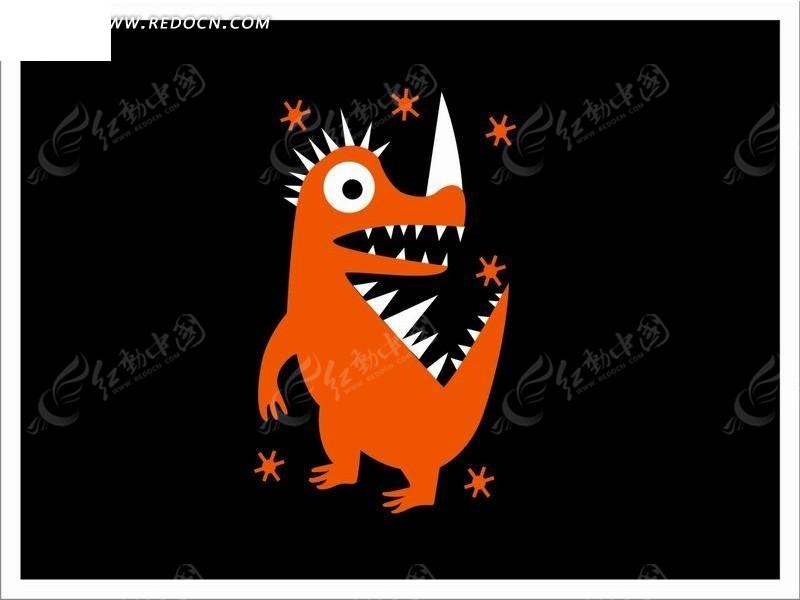 黑色背景上的卡通恐龙