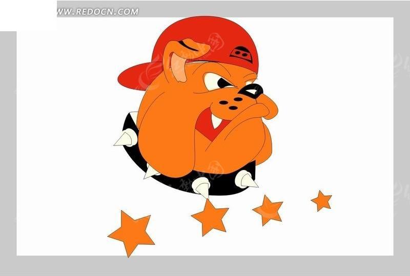 红色帽子 狗 动物 五角星 卡通画 卡通人物 卡通人物图片 漫画人物