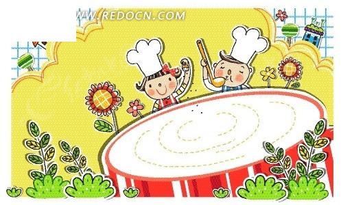大锅 厨师 花朵 房屋 卡通画 卡通人物 卡通人物图片 漫画人物 人物
