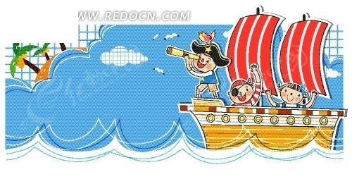 轮船儿童画图片