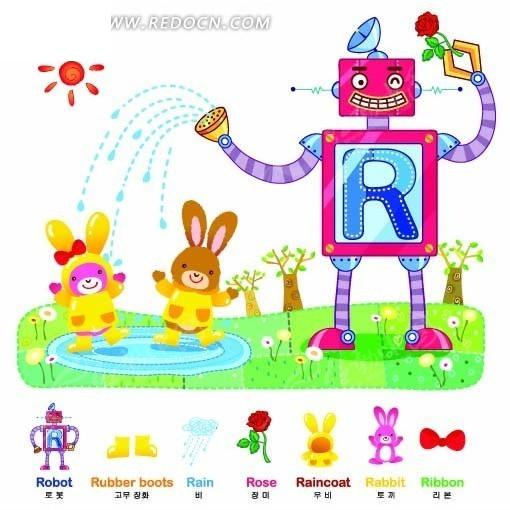 草地上的机器人和动物卡通画EPS素材免费下载 编号2016083 红动网