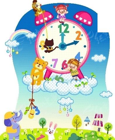 空中的时钟和草地上的动物卡通画