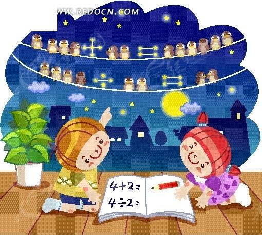 木地板上读书的男孩女孩卡通画矢量图 卡通形象