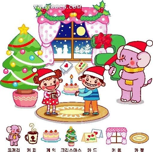 赠送蛋糕给女孩的男孩卡通画矢量图