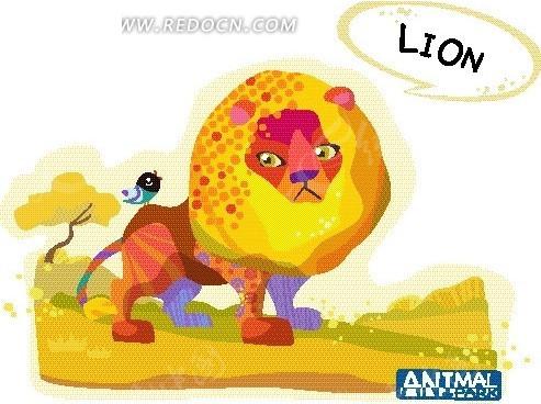 黄色草地上的狮子卡通画