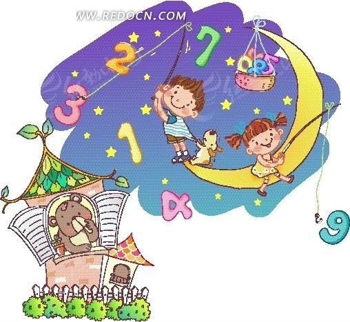 卡通人物插画-坐在月亮钓数字的小男孩小女孩