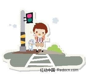 人行道 上牵着狗的男孩 卡通画 卡通人物矢量图 高清图片