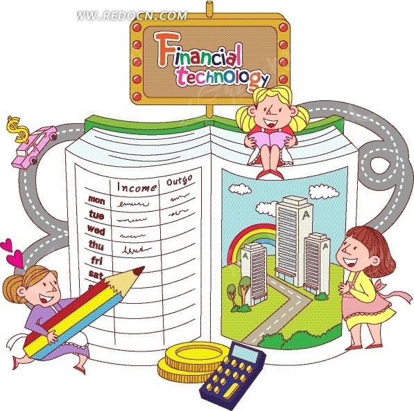高楼大厦卡通画_书本边的女孩和书本上的高楼大厦卡通画