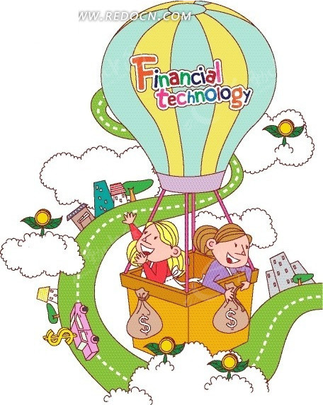 绿色跑道 云朵 热气球 女人 卡通画 卡通人物 卡通人物图片 漫画人物