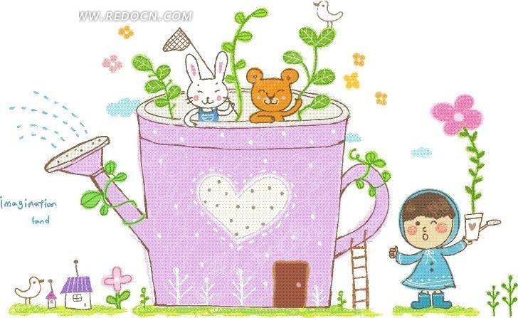 紫色喷壶边的男孩卡通画图片