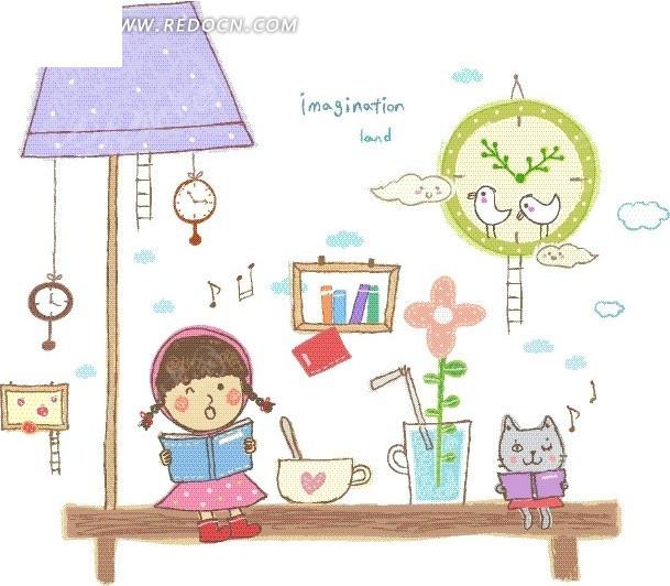 坐在长椅上读书的女孩和猫卡通画图片