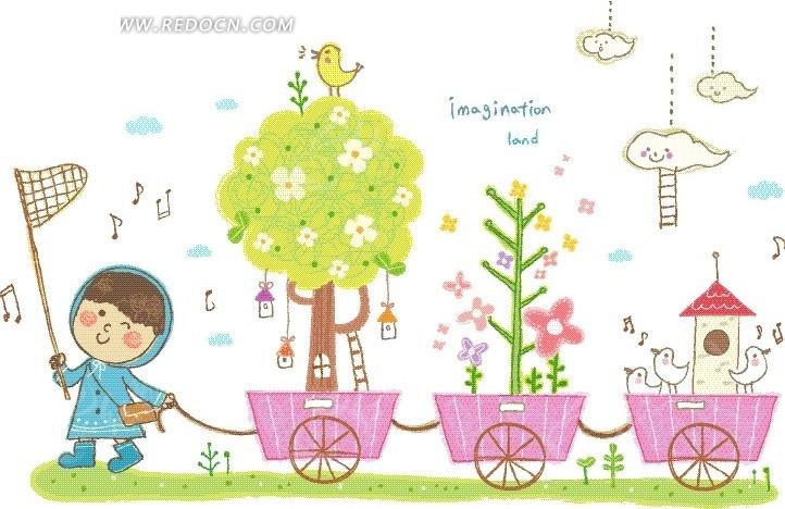 装满树木和房屋的小车和拉着小车的儿童卡通画