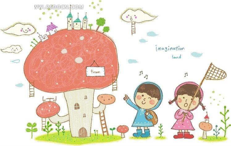 红色蘑菇边的男孩女孩卡通画