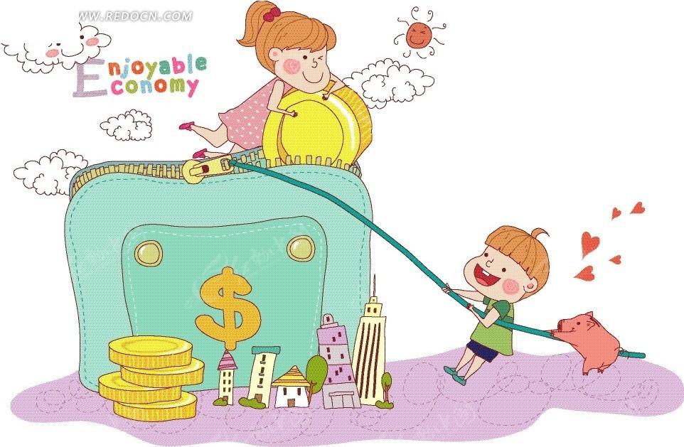 门上的男孩和拉着女孩的女生以及猪卡通画-卡刘海绳子直图片