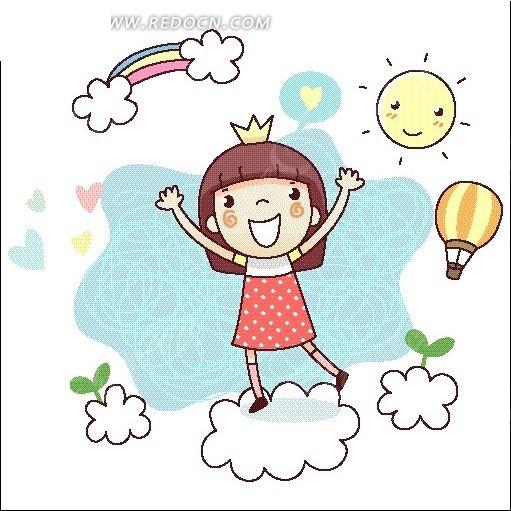 云朵上的女孩卡通画