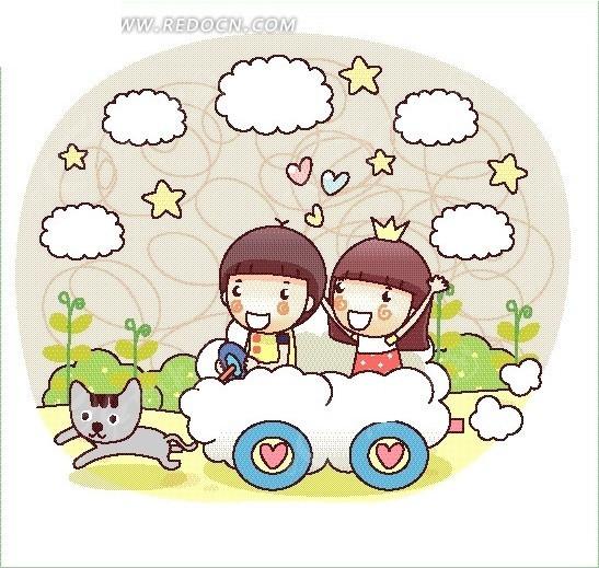 奔跑的猫 动物 五角星 云朵汽车 男孩 女孩 卡通画 卡通人物 卡通人物