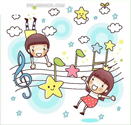矢量卡通插画-五线谱星星音乐符小女孩