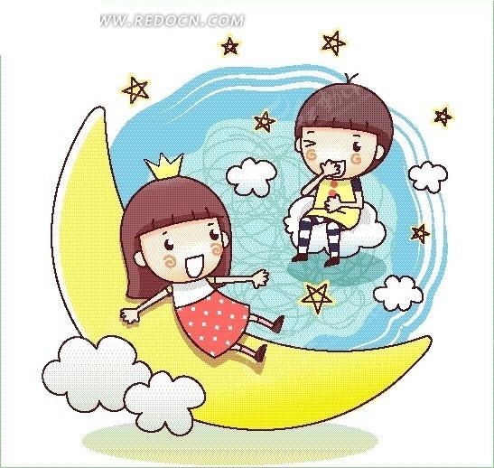 矢量卡通插画-坐在月亮白云的小女孩矢量图