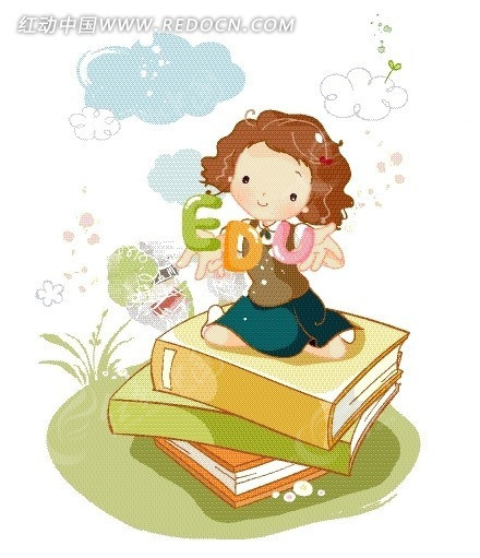 矢量卡通插画 看书本的美女