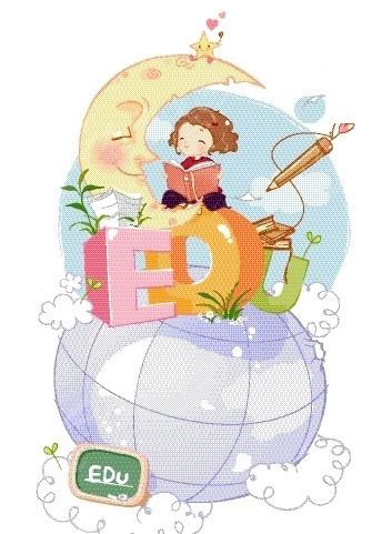 矢量卡通插画-坐在地球仪看书的小女孩