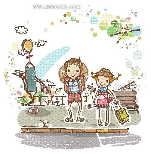 背着包袱和行李箱的男孩女孩卡通画