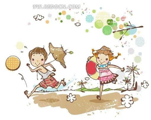 树枝下拿着救生圈奔跑的男孩女孩卡通画