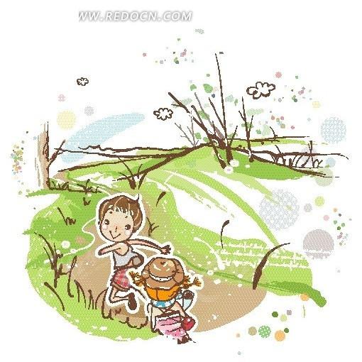 山间道路上奔跑的男孩女孩卡通画矢量图免费下载